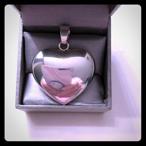 Sterling Silver 925 Large Heart Pendant w/lg Bail